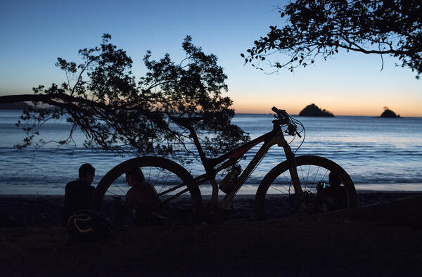The landscape of Las Catalinas makes for the perfect place to mountain bike at night.